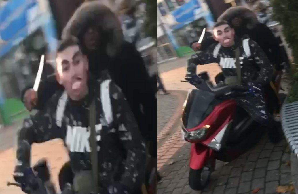 Two men caught on camera riding around Arnold town centre wielding knife