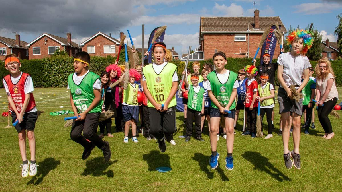 Broomsticks ready: Muggles enjoy Quidditch class at Haddon Primary School in Carlton