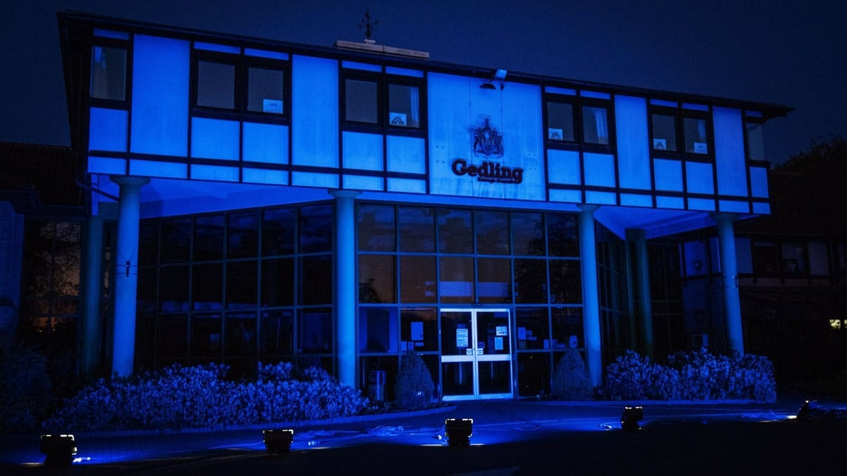 Civic Centre in Arnold turns blue